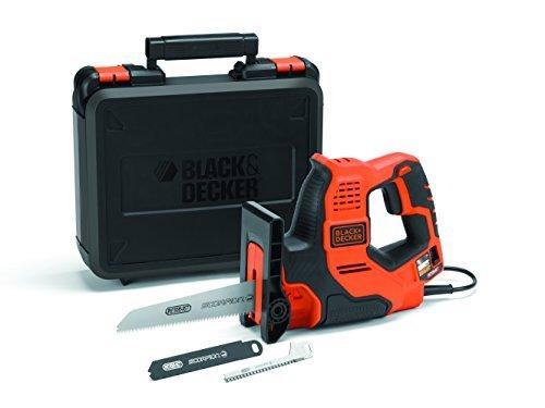 Black+Decker 3-in-1 Autoselect Universalsäge Scorpion 500W RS890K / Elektrische Mehrzwecksäge Hand-, Stich- und Astsäge mit Koffer / 23mm Hublänge